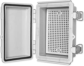 """QILIPSU Hinged Cover Stainless Steel Latch 150x100x70mm Junction Box with Mounting Plate, Universal IP67 Project Box Waterproof DIY Electrical Enclosure, ABS Plastic Grey (5.9""""x3.9""""x2.7"""" SSL)"""