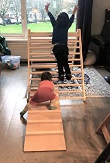 HomeForDreams Climbing Triangle, Baby Climber, Climbing Ladder for Toddler, Pikler Triangle, Step Triangle (Triangle + Rock/Slide Board)