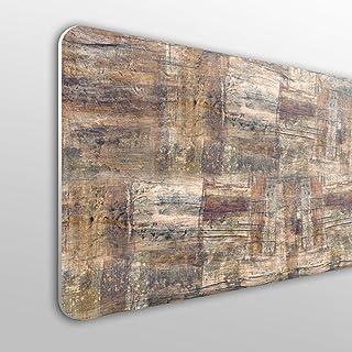 MEGADECOR Cabecero Cama PVC 10mm Decorativo Económico En Varios Medidas con Efecto Fondo De Madera Natural con Brochazos De Gris/Blanco (100cm x 60cm)