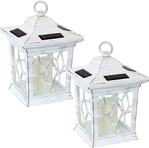 lowest Sunnydaze Lucien Outdoor Solar LED Decorative Candle Lantern - Rustic Farmhouse Decor for Patio, Porch, wholesale Deck and Garden - Tabletop and Hanging Outside Light - Set of 2 - White - popular 9-Inch outlet online sale