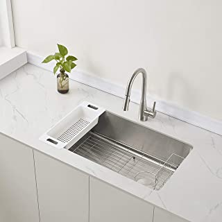 "Zuhne Offset Drain Kitchen Sink 16 Gauge Stainless Steel (32"" Reversible Undermount)"