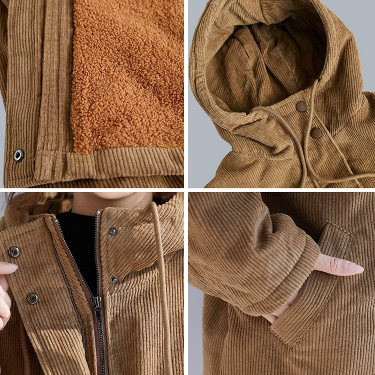 PEHMEA Women's Warm Winter Faux Fur Sherpa Lined Hoodies Coat Outerwear Mid-Long Overcoat Jacket
