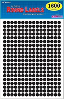 Pack of 1600 3/8 Inch Round Neon Color Coding Dot Map Label Stickers, Solid Black, 8 1/2