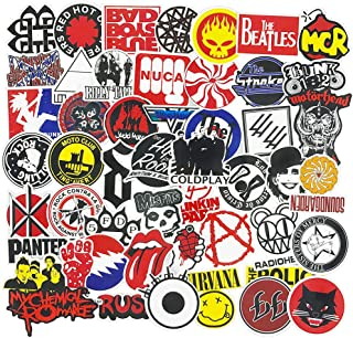Rock Band Stickers Pack Music Stickers for Guitar Laptop Luggage Water Bottle Bumper Punk Stickers Decals 50pcs