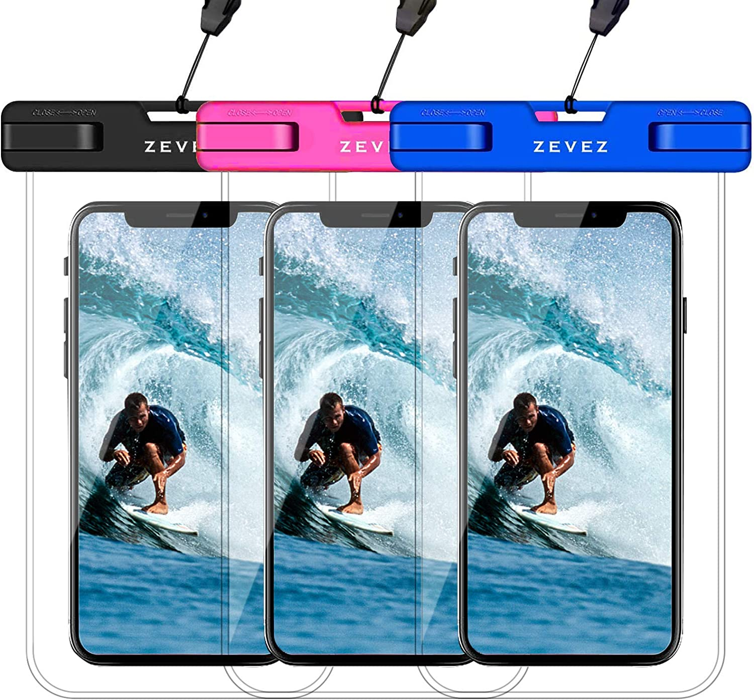 3 Pack Universal Waterproof Case Floating Phone Pouch, Dry Bag for Cell Phone - Summer Water Sports and Dive for iPhone 12 11 Pro Max Xs Max XR X 8 7 Plus, Galaxy S21 Pixel HTC LG Sony Moto Up to 7