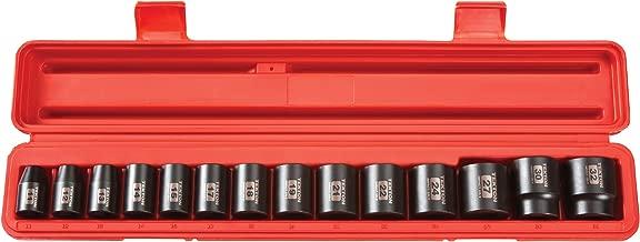 TEKTON 1/2-Inch Drive Shallow Impact Socket Set, Metric, Cr-V, 6-Point, 11 mm - 32 mm, 14-Sockets | 4817