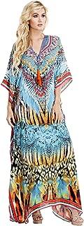 Caftan Long Kaftan Casual Summer Bohemian Lounger Dress Animal Print Maxi Kaftans with Embellished Necklines - Luxe Resort Apparel