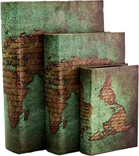 Bellaa 28007 Faux Book Boxes with Ancient World Map Set of 3