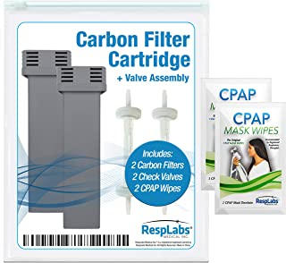 RespLabs Cartridge Filter Kit Replacement - [2 Pack] Fits The SoClean 2 | Includes 2 Carbon Filters, 2 Check Valve Assemblies, 2 Travel CPAP Wipes