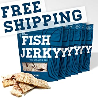 Fish Jerky - Wild Atlantic Cod - Nothing Added - Six-Pack (6 x 1.8oz), Made and Shipped from Iceland