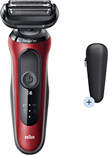 Braun Series 6 60-R1000s Electric Shaver, Wet & Dry, Rechargeable, Cordless Foil Shaver, Red