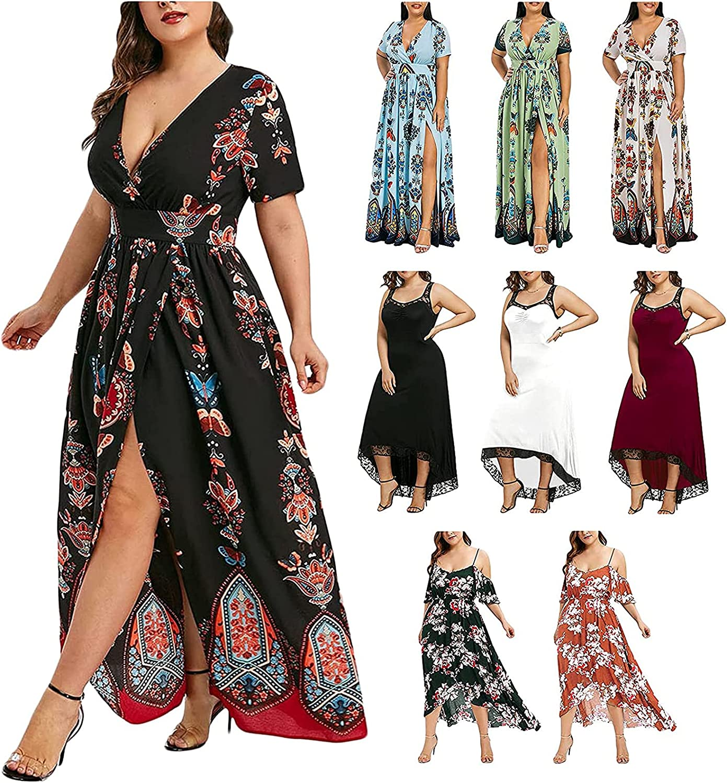 SXAURA Plus Size Maxi Dress for Women V-Neck Bohemian Split Dress Casual Loose Short Sleeve Asymmetrical Summer Dress