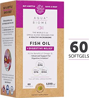 Aqua Biome by Enzymedica, Fish Oil + Digestive Relief, Complete Omega 3 Supplement, Gluten Free and Non-GMO, 60 softgels (30 servings)