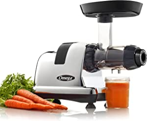 Omega Juicer J8006HDC Slow Masticating Cold Press Vegetable and Fruit Juice Extractor and Nutrition System, Triple Stage, 200-Watts, Chrome