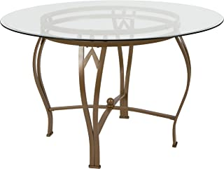 Flash Furniture Syracuse 48'' Round Glass Dining Table with Matte Gold Metal Frame
