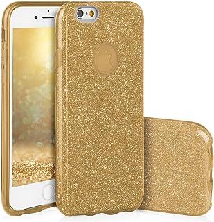 Qult Carcasa para Móvil Compatible con iPhone 6S Plus, Funda iPhone 6 Plus Silicona Glitter Dura Bumper Teléfono Brillar Purpurina Gold Caso para Oro