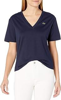 Lacoste Women's Short Sleeve Boxy Fit V-Neck T-Shirt