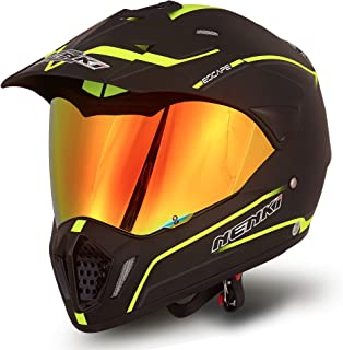 NENKI NK-310 Dual Sport Enduro Motocross & Motorcycle Helmet Dot Approved With Iridium Red Visor Attached Clear Visor (XL 60-61CM, Matt Black & Fluo Yellow)