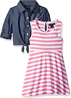 U.S. Polo Assn. Girls' Striped Knit Skater Dress with Chambray Shirt-Jack