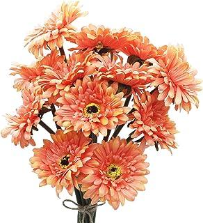 HASWITDA 12PCS Artificial Gerbera Flower Single Stem Bloom Bouquet Plastic Silk Fake Decorative Flora Outdoor Indoor Home ...