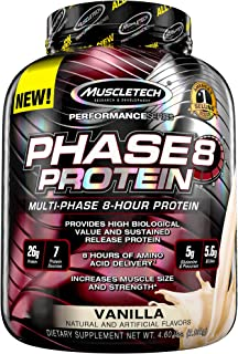MuscleTech Phase8 Protein Powder, Sustained Release 8-Hour Protein Shake, Vanilla, 4.6 Pound