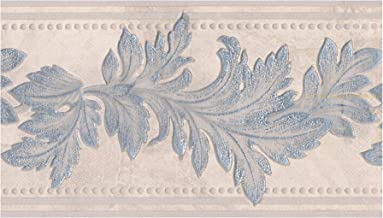 Wall Border - Silver Sparkling Damask Leaves on Beige Abstract Wallpaper Border Retro Design, Prepasted Roll 15 ft. x 5 in.
