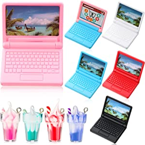 6 Pieces 1:12 Dollhouse Mini Laptop and 4 Pieces Mini Bottle Ice Cream Simulation Notebook Lovely Folding Laptop Model for DIY Dolls House Furniture Accessories Pretend Toys
