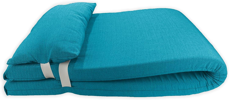 Colchón para Tumbona con Cojín. Cojín 180x60x6 Desenfundable, Cómodo y Elegante. Ideal para Jardín, Piscina, Playa, Terraza y Balcón. (Azul, 1)