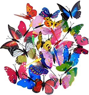 TOOGOO 20 Pieces Garden Butterflies Stakes and 4 Pieces Dragonflies Stakes Garden Ornaments for Yard Patio Party Decoratio...