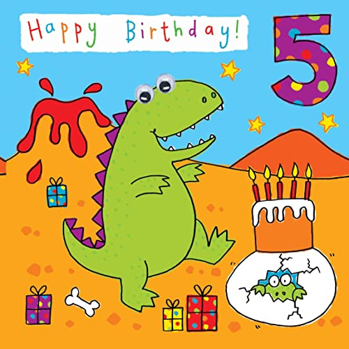 Twizler 5th Birthday Card For Child With Dinosaur Party And Hand Finished Googly Eyes