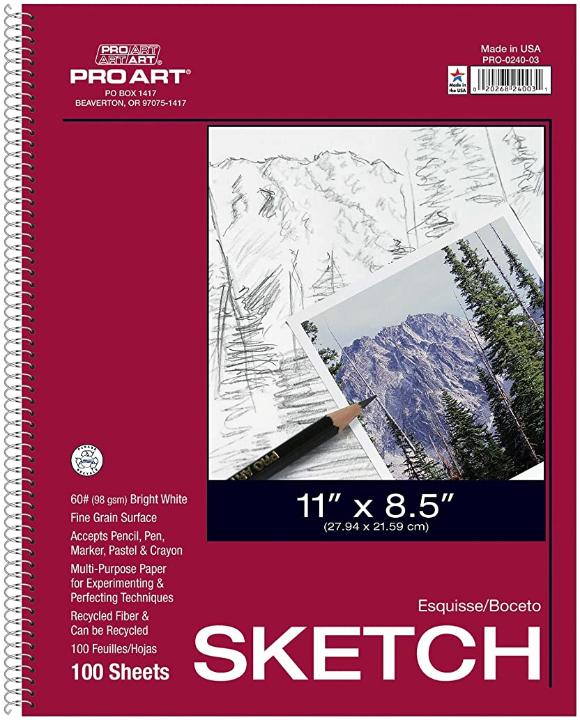 PRO ART 11-Inch by 14-Inch Sketch Paper Pad, 100 Sheets