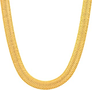 Lifetime Jewelry 7mm Flexible Herringbone Chain Necklace 24k Real Gold Plated with Free Lifetime Replacement Guarantee