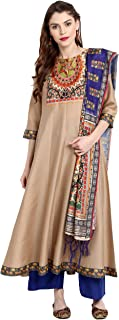 Janasya Indian Tunic Tops Poly Silk Kurti with Dupatta for Women