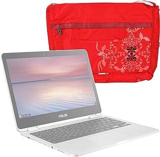 DURAGADGET Bolso Rojo con Print Floral para ASUS Chromebook Flip C302CA-GU010, ASUS ROG Strix GL553VD-DM470, ROG Zephyrus GX501VI XS74, Zenbook Flip UX360CA-C4177T, Zenbook Flip UX560UQ-FZ033T