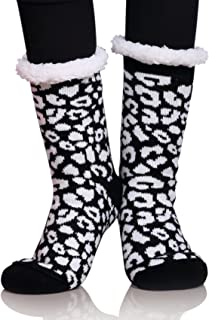 Womens Thermal Slipper Socks Sherpa Lined Nonskid Fuzzy Cozy Winter Socks