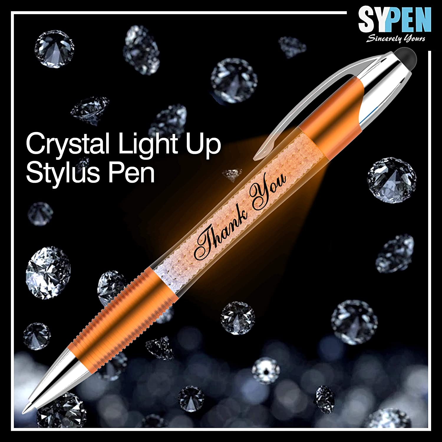 Multicolor 6 Pack Ballpoint Pen Barrel Filled with Crystals-Compatible with Most Phones and Touch Screen Devices Thank You Greeting Gift Stylus Pens-Pen Lights up a Thank You Message 3 in 1 Stylus