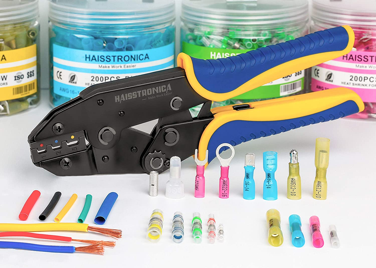 Haisstronica 200pcs 5//16 Blue Marine Grade Heat Shrink Ring Connectors-Tinned red Copper 0.7mm Ring Terminal Connectors-Heat Shrink Wire Connectors-Insulated Electrical Crimp Terminals 16-14 Gauge