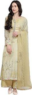 Rajnandini Women's Beige Pure Muslin Printed Semi-Stitched Salwar Suit Material (Free Size)