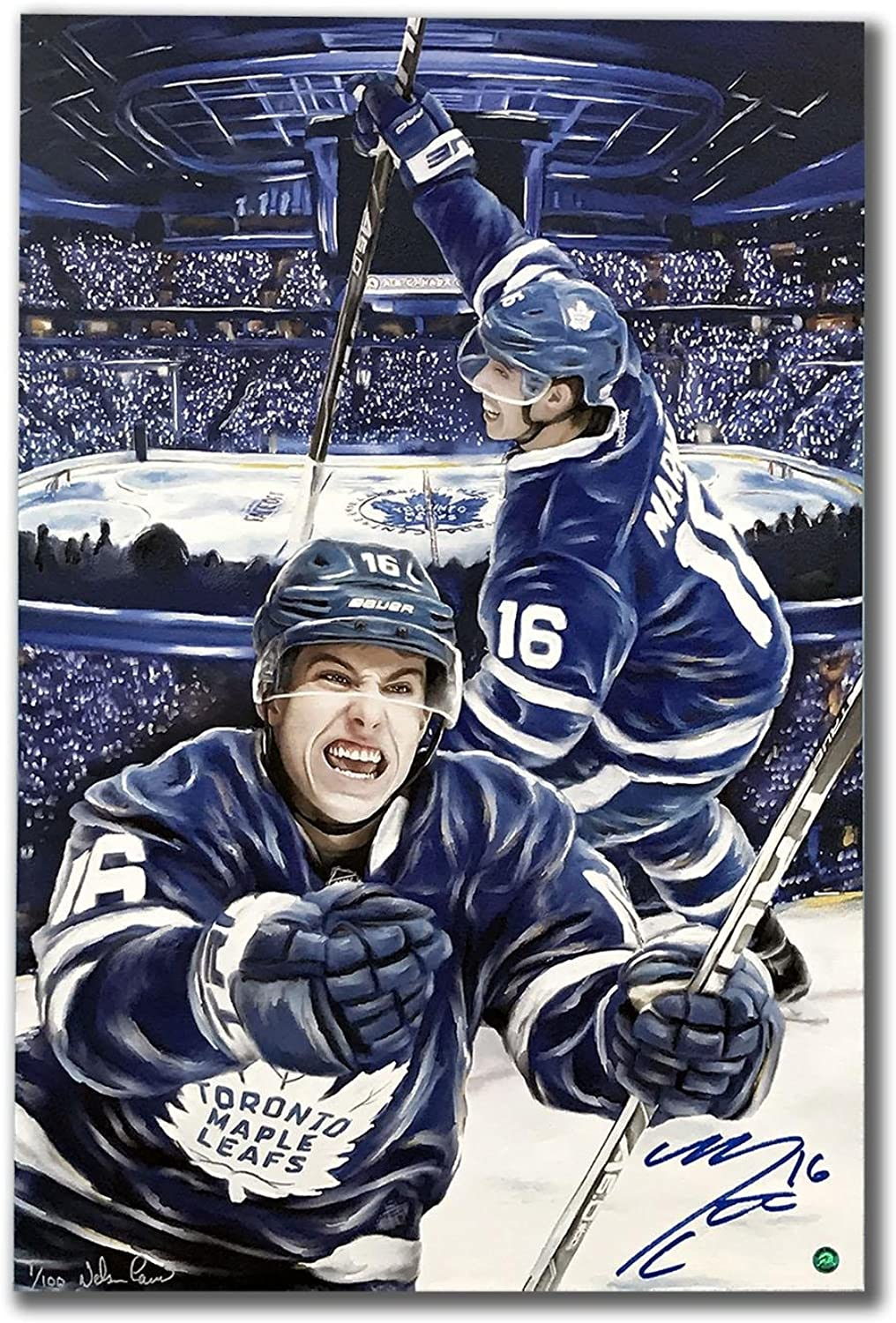 Mitch Marner Tgoldnto Maple Leafs Autographed 1st Goal 24x36 Art Canvas   100  Autographed NHL Art