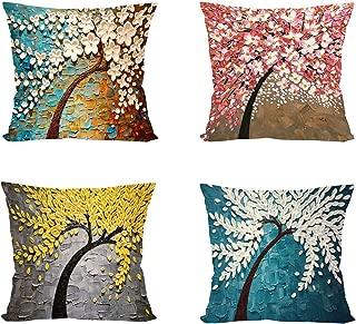 Throw Pillow Case Square Pillow Cover Decorative Cushion Cover Pillowcase Four Season Flower Decoration for Sofa Bed Chair Car Set of 4, 45cm x 45cm