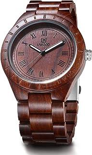 MUJUZE Red Sandalwood Big Size Men's Wood Watch Quartz Analog Vintage Style Wooden Wristwatches