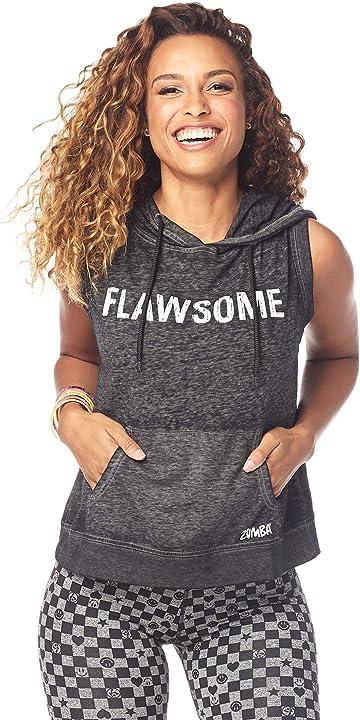 Felpa leggera zumba women`s sleeveless fashion print design workout hoodie, canottiera donna Z1T01482: 9-Bold Black-XS