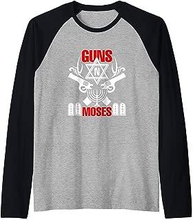 Guns N Moses Funny Jewish Israeli Army Rock Pun Gift Raglan Baseball Tee