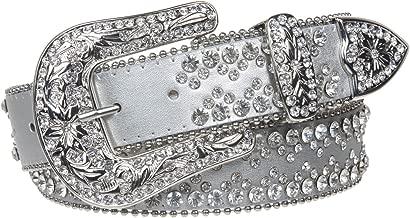 Snap On Western Cowgirl Rhinestone Studded Metallic Leather Belt