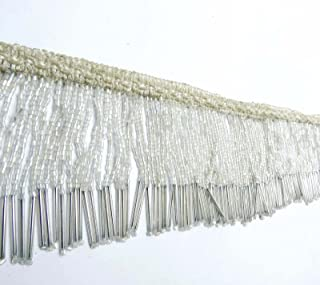 Knitwit Upholstery Decorative White Beaded Fringe Ribbon Curtain Craft Supplies 3 Yards