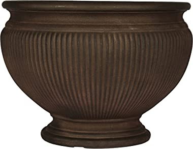 Sunnydaze Elizabeth Ribbed Urn Flower Pot Planter, Outdoor/Indoor Extra-Durable Double-Walled Polyresin, UV-Resistant Rust Finish, Single, 16-Inch Diameter