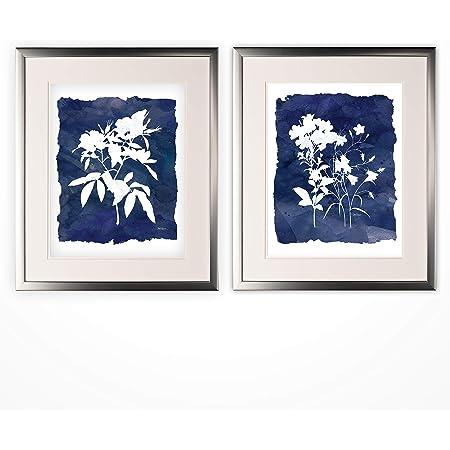 Amazon Com Wexford Home Indigo Botanical 2 Piece Set Silver Frame Art Print 16x20 Be Be Brave Posters Prints