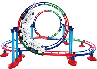 Mozlly Battery Powered High Speed Grand Bullet Roller Coaster Train 112 Pc Loop Race Track - Operated Car Railway Building Play Set for Boys, Girls, Kids 15