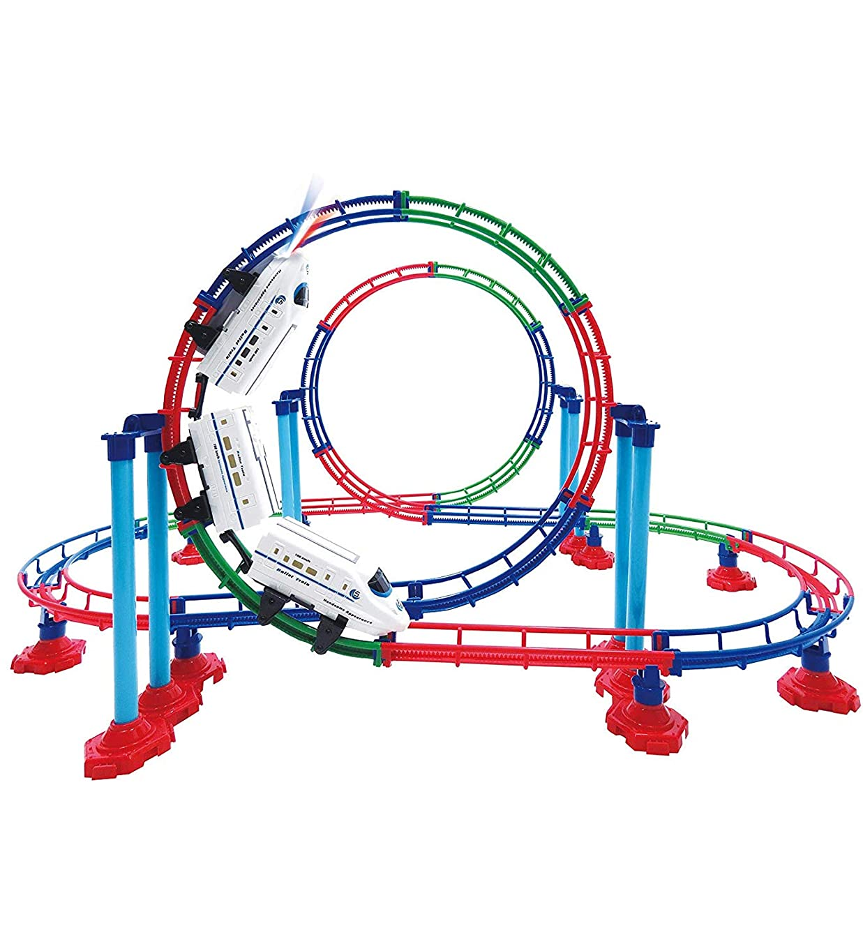 Mozlly Battery Powered High Speed Grand Bullet Roller Coaster Train 112 Pc Loop Race Track - Operated Car Railway Building Play Set Boys, Girls, Kids 15