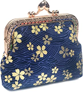 POPUCT Buckle Coin Purse Floral Kiss lock Change Pouch Cloth Wallet for Women